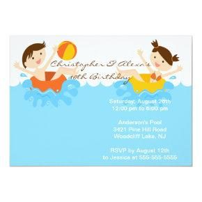 CUTE Twins Pool Party Birthday Invitations