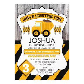 Cute Under Construction Birthday Invitations