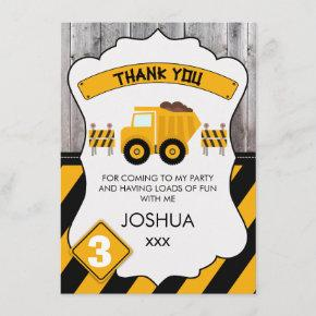 Cute Under Construction Birthday Thank You Card
