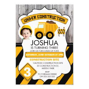 Cute Under Construction Photo Birthday Invitation