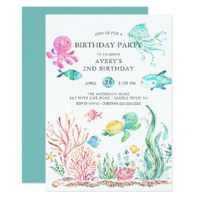 Cute Under the Sea Birthday Invitations