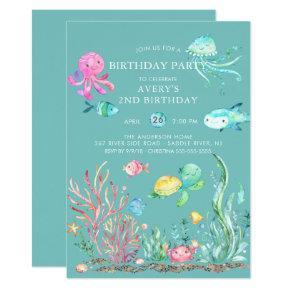 Cute Under the Sea Birthday Invitation