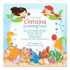 Cute Under The Sea Mermaid Birthday Invitations