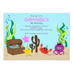 Cute Under the Sea Mermaid Birthday Party Invitations