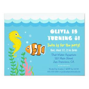 Cute Under the Sea theme Aquarium Birthday Party Invitation