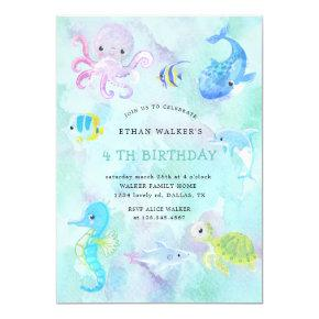 Cute under the sea watercolor Birthday Invitation