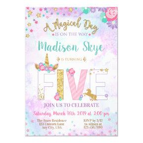 Cute Unicorn Birthday Invitation Fifth Five