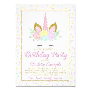 Cute Unicorn Birthday Party Invitations