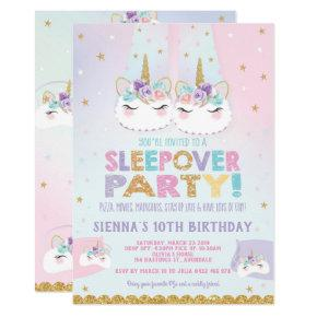 Cute Unicorn Sleepover Birthday Party Invitation
