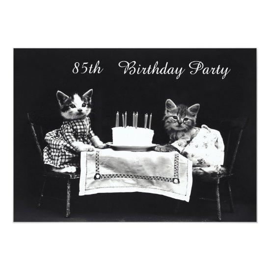 Cute Vintage Kittens 85th Birthday Party Invitations