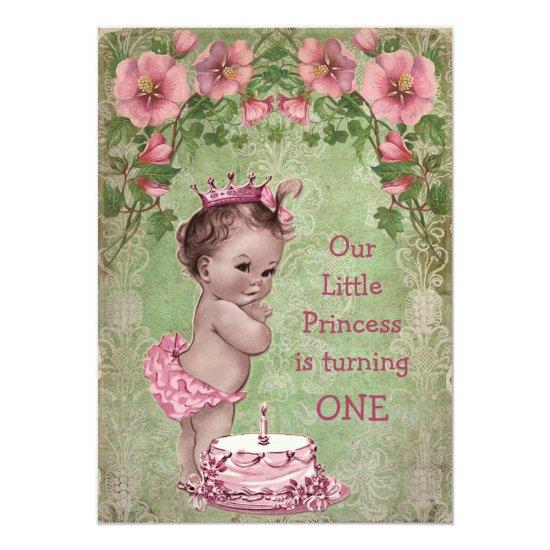 Super Cute Vintage Princess 1St Birthday Party Candied Clouds Funny Birthday Cards Online Alyptdamsfinfo