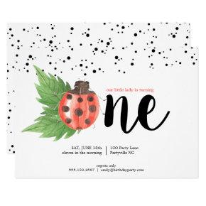 Cute Watercolor Ladybug First Birthday Invitation