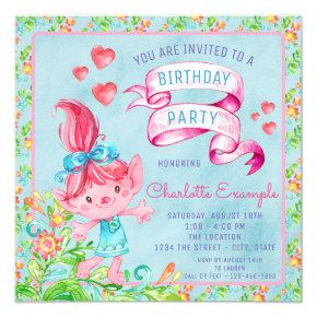 Cute Watercolor Troll Birthday Party Invitations