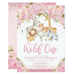 Cute Wild One Girl Safari Animals 1st Birthday Invitation