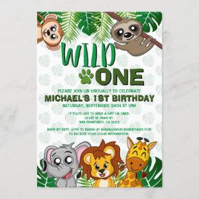 Cute Wild One Jungle Safari Virtual First Birthday Invitation