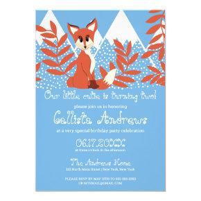 Cute Winter Orange Fox Mountains Leaf Birthday Invitation