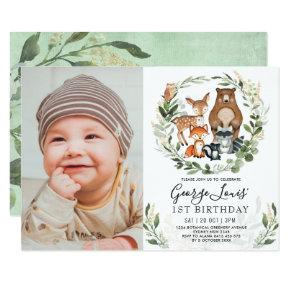 Cute Woodland 1st Birthday Forest Friends Party Invitation