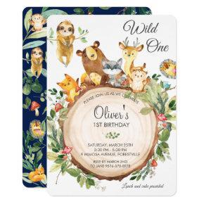 Cute Woodland Animals 1st Birthday Party Wild One Invitation