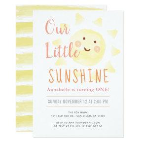 Cute Yellow Sunshine Girl 1st Birthday Party Invitation