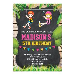 Cute zip line invitation