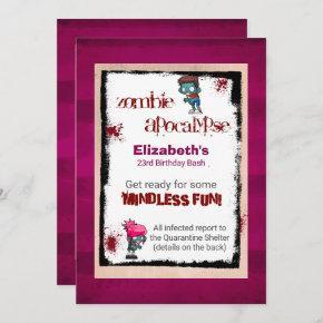 Cute Zombie Theme Birthday Party Invite