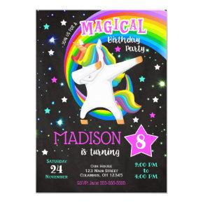 Dabbing Unicorn Birthday Invitation