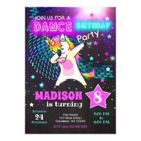 Dabbing Unicorn Birthday Invitation / Dance Party