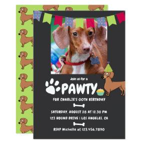 Dachshund Dog Birthday photo invitation