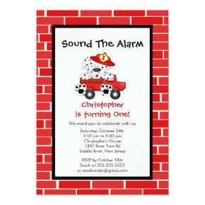 Dalmatian Puppy Fire Truck Birthday Party Invitation