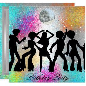 Dance Disco Birthday Party psychodelic Invitations