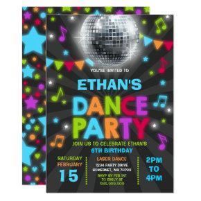 Dance Party Invitation Glow Disco Party Invite