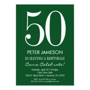 Dark Green White Modern Adult Birthday