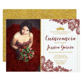 Dark Red Lace & Glitter Gold Princess Quinceañera Invitation