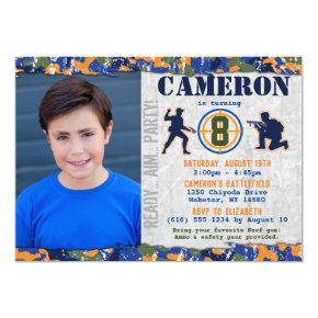 Dart Photo Military Birthday Party Camo Soldiers Invitation