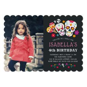 Day of the Dead Theme Birthday Party Photo Invitation