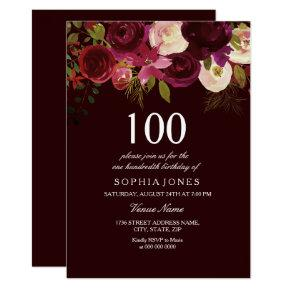 Deep Burgundy Flowers 100th Birthday Party Invite