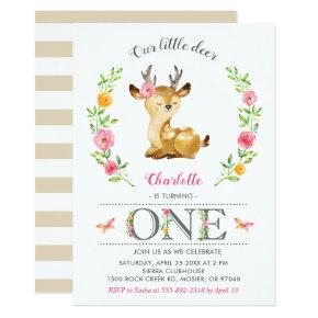Deer Baby Girl Woodland Floral 1st First Birthday Invitation