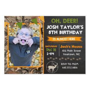 Deer Camo Hunting Birthday Invitation