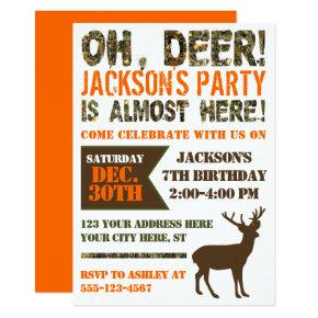 Deer Hunting Birthday Invitations | Camo Party
