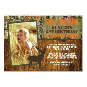 Deer Hunting Birthday Invitations with Photo - Camo