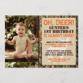Deer Hunting Birthday Invitation with Photo - Camo