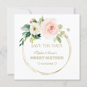 Delicate Blush White Flowers Gold Sweet Sixteen Save The Date