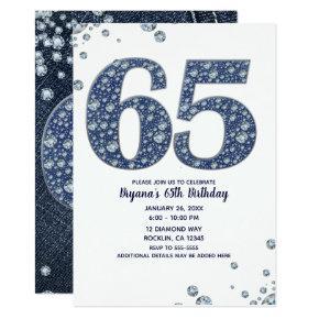 Denim Diamonds Bling Sparkle 65TH 65 Birthday Invitations