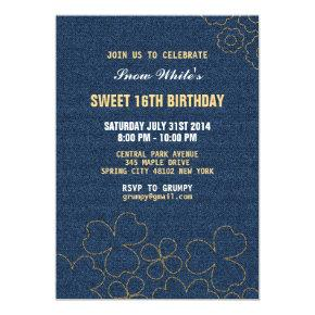 Denim Jeans Floral Pattern Birthday Invitation