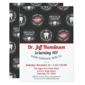 Dentist Birthday Invitation Chalk Dental Party