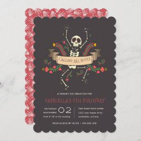 Día de los Muertos Theme Kids Birthday Party Invitation