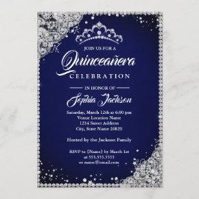 Diamond Lace Sparkle Navy Silver Quinceanera Invitation