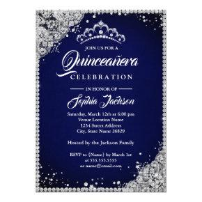 Diamond Lace Sparkle Navy Silver Quinceanera Invitation