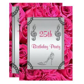 Diamond Music Note, Stiletto & Pink Roses 25th Invitation