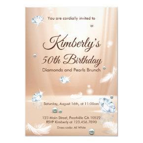 Diamonds and Pearls Birthday Brunch Invitation
